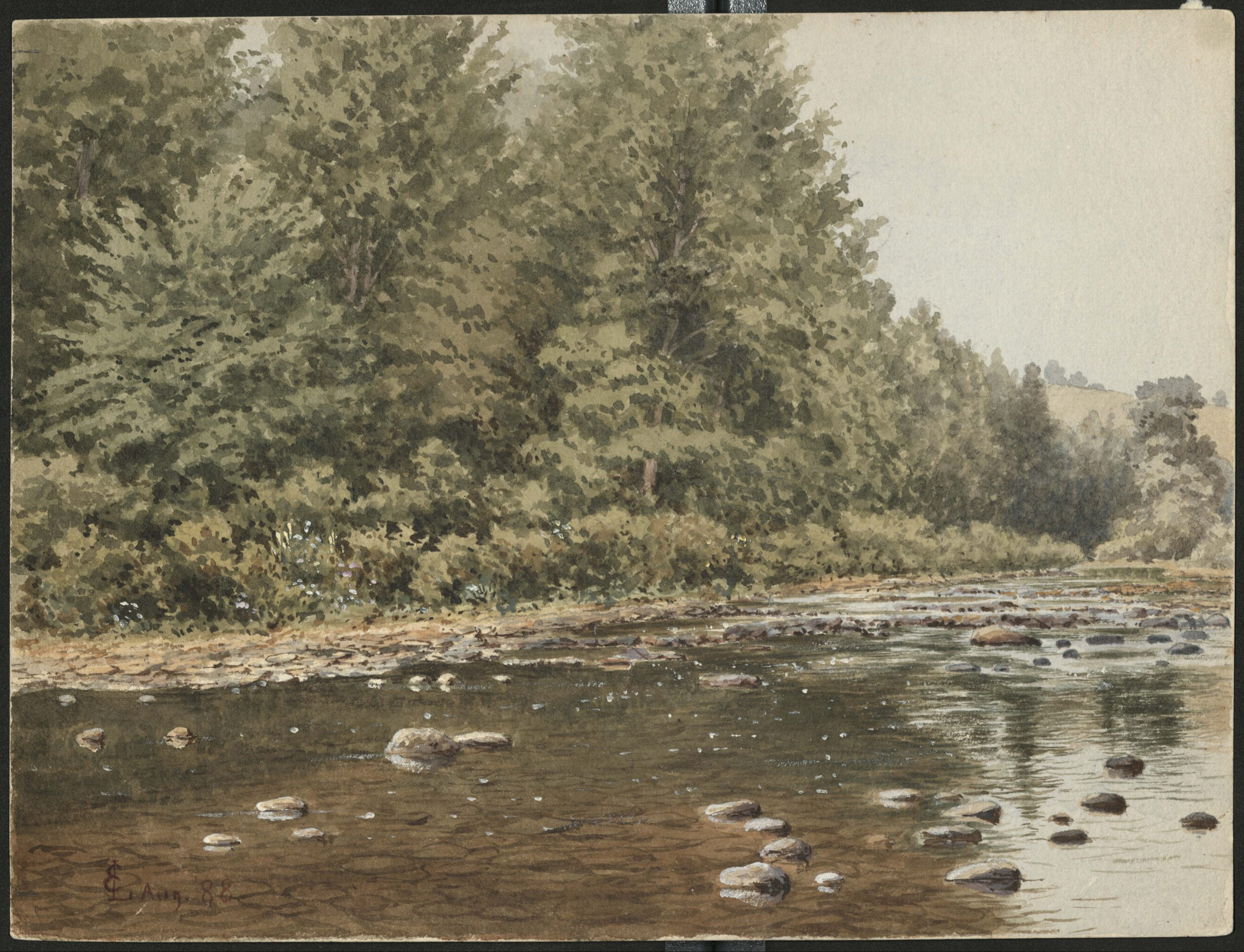 This image depicts a landscape watercolor painting of the Bushkill Creek near Bolton, or Jacobsburg, Pennsylvania. Pine trees are visible in the background.