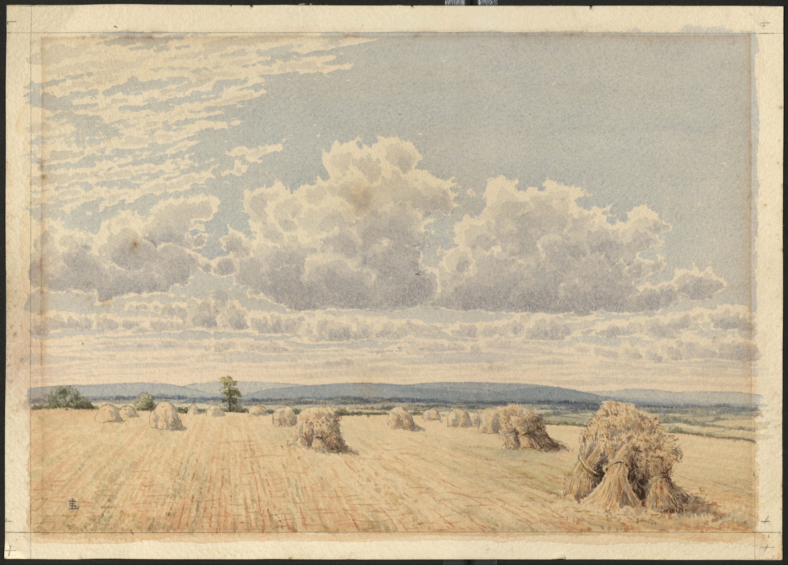 This image depicts a landscape watercolor painting of a harvested field, filled with bales of hay, or haystacks. Clouds are depicted prominently in the top portion of the painting, and a mountain range is visible in the far distance.