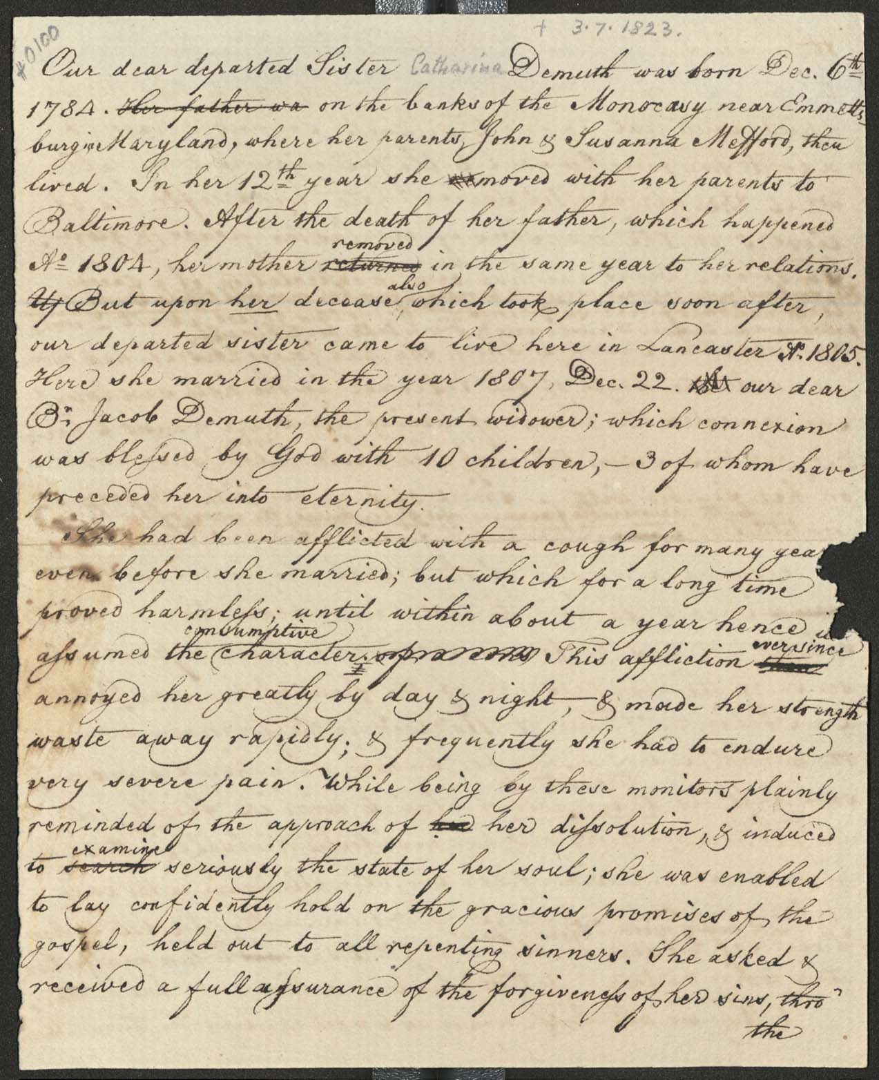 Memior of Catharine Demuth (1784-1823) pg 1